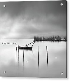 Lake View With Poles And Boat Acrylic Print