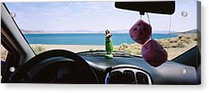 Lake Viewed Through The Windshield Acrylic Print by Panoramic Images