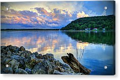 Lake White Sundown Acrylic Print