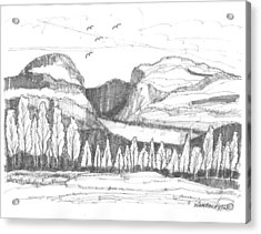 Acrylic Print featuring the drawing Lake Willoughby Vermont by Richard Wambach