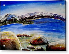Acrylic Print featuring the painting Lakeshore Boulders by Carol Duarte