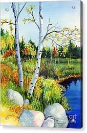 Lakeside Birches Acrylic Print by Hailey E Herrera