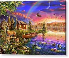 Acrylic Print featuring the drawing Lakeside Cabin  by Adrian Chesterman