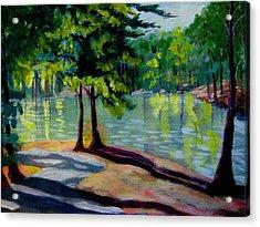 Lakeside Trail Enhanced Acrylic Print by Gretchen Allen