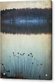 Lakeside Winter Flowers Acrylic Print