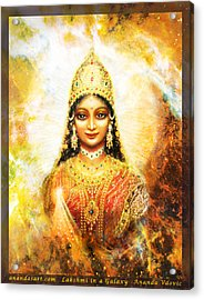 Acrylic Print featuring the mixed media Lakshmi Goddess Of Abundance In A Galaxy by Ananda Vdovic