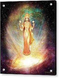 Lakshmi Goddess Of Abundance Rising From A Galaxy Acrylic Print by Ananda Vdovic