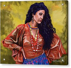 Acrylic Print featuring the painting Lala Gypsy Girl by Tim Gilliland