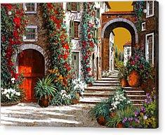 L'altra Porta Rossa Al Tramonto Acrylic Print by Guido Borelli