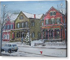 Acrylic Print featuring the painting Lambertville In The Snow by Oz Freedgood