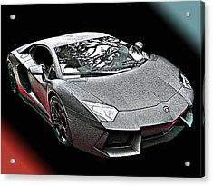 Lamborghini Aventador In Matte Black Finish Acrylic Print