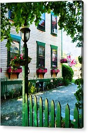 Lamp And Window Boxes Acrylic Print by Susan Savad