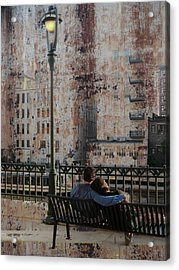 Lamp Post And Couple On Bench Acrylic Print