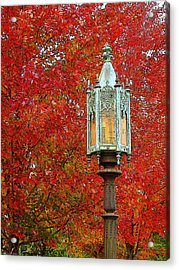 Lamp Post In Fall Acrylic Print
