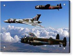 Lancaster Bombers And Vulcan Xh558 Acrylic Print