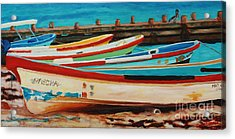 Acrylic Print featuring the painting Lanchas Mexicanas by Janet McDonald
