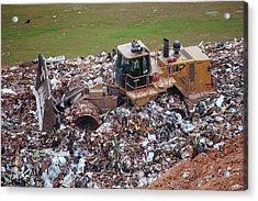 Landfill Waste Disposal Bulldozer Acrylic Print