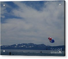 Acrylic Print featuring the photograph Parasail Landing by Bobbee Rickard
