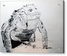 Acrylic Print featuring the drawing Landing by Lazaro Hurtado