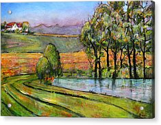 Landscape Art Scenic Fields Acrylic Print by Blenda Studio