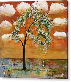 Landscape Art Scenic Tree Tangerine Sky Acrylic Print