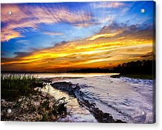 Acrylic Print featuring the photograph Landscape Beach Sunset-golden Sun Rays-stream To The Sea by Eszra