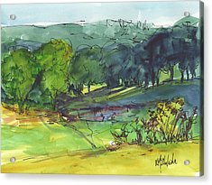 Landscape Lakeway Texas Watercolor Painting By Kmcelwaine Acrylic Print