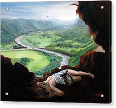 Landscape Of Cueva Ventana With Eurydice Abandoned By Orpheus Transformed Into A Bird Acrylic Print