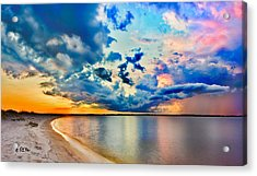 Acrylic Print featuring the photograph Landscape Panorama-blue Purple Pink Cloud Sunset Reflection by Eszra Tanner