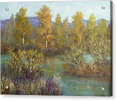 Landscape River And Trees Paintings Acrylic Print