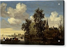 Acrylic Print featuring the digital art Landscape by Salomon van Ruysdael