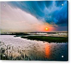 Acrylic Print featuring the photograph Landscape-storm At Sea Sunset-rain Ripples-blue Clouds by Eszra