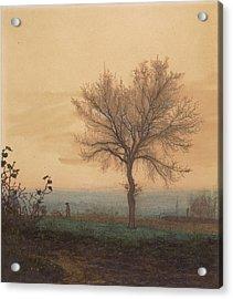Landscape With A Bare Tree And A Plowman Léon Bonvin Acrylic Print