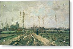 Landscape With A Church And Houses Acrylic Print by Vincent van Gogh