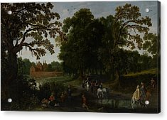 Landscape With A Courtly Procession Before Abtspoel Castle Acrylic Print by Esaias I van de Velde