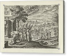 Landscape With Abraham And The Three Angels Acrylic Print by Julius Goltzius And Hans Bol And J. Janssonius