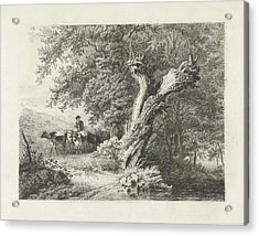 Landscape With Bare Tree And Shepherd, Constantinus Acrylic Print