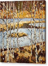 Acrylic Print featuring the painting Landscape With Birches by Zeke Nord