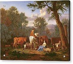Landscape With Cattle And Figures Acrylic Print by Adriaen van de Velde