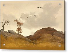 Landscape With Crows Acrylic Print by Karl Friedrich Lessing