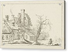 Landscape With Houses, Charles Joseph Emmanuel De Ligne Acrylic Print by Charles Joseph Emmanuel De Ligne