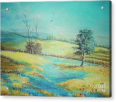 Acrylic Print featuring the painting Landscape With Lavanda  by Sorin Apostolescu