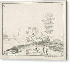 Landscape With Lion, Charles Joseph Emmanuel De Ligne Acrylic Print by Charles Joseph Emmanuel De Ligne