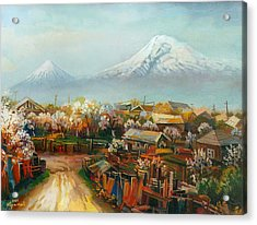 Landscape With Mountain Ararat From The Village Aintap Acrylic Print by Meruzhan Khachatryan