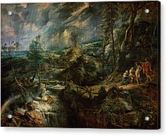Landscape With Philemon And Baucis C.1625 Oil On Panel Acrylic Print by Peter Paul Rubens