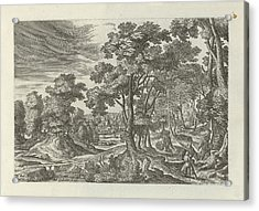 Landscape With Robbery Of The Traveler, Julius Goltzius Acrylic Print by Julius Goltzius And J. Janssonius