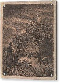 Landscape With Skaters, Johannes Christiaan Janson Acrylic Print