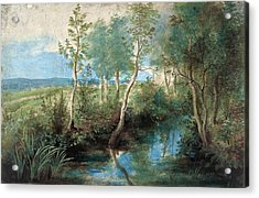 Landscape With Stream Overhung With Trees Acrylic Print by Peter Paul Rubens