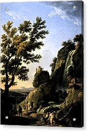 Acrylic Print featuring the digital art Landscape With Waterfall by Joseph Vernet