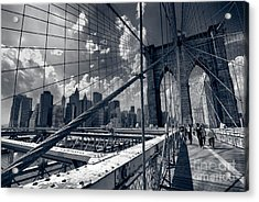 Lanes For Pedestrian And Bicycle Traffic On The Brooklyn Bridge Acrylic Print